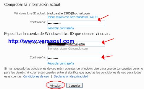 Vincular cuentas Hotmail
